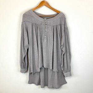 Free People Long Sleeve Oversized Tan Top